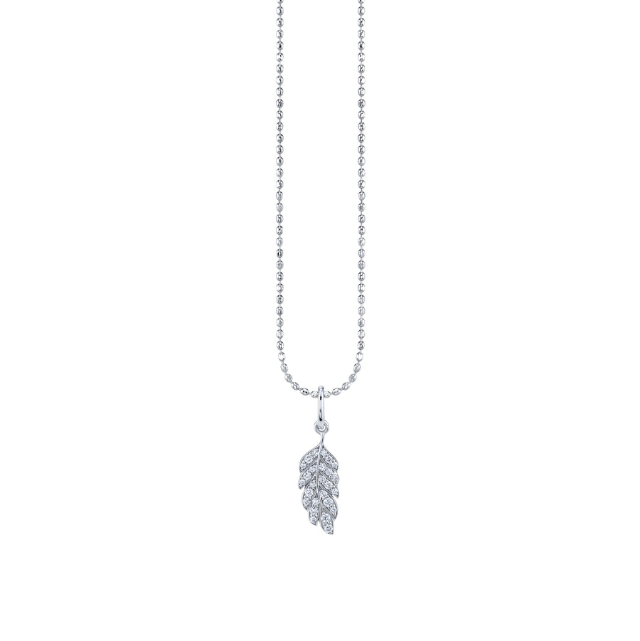 Tiny Gold & Pavé Diamond Feather Charm Necklace