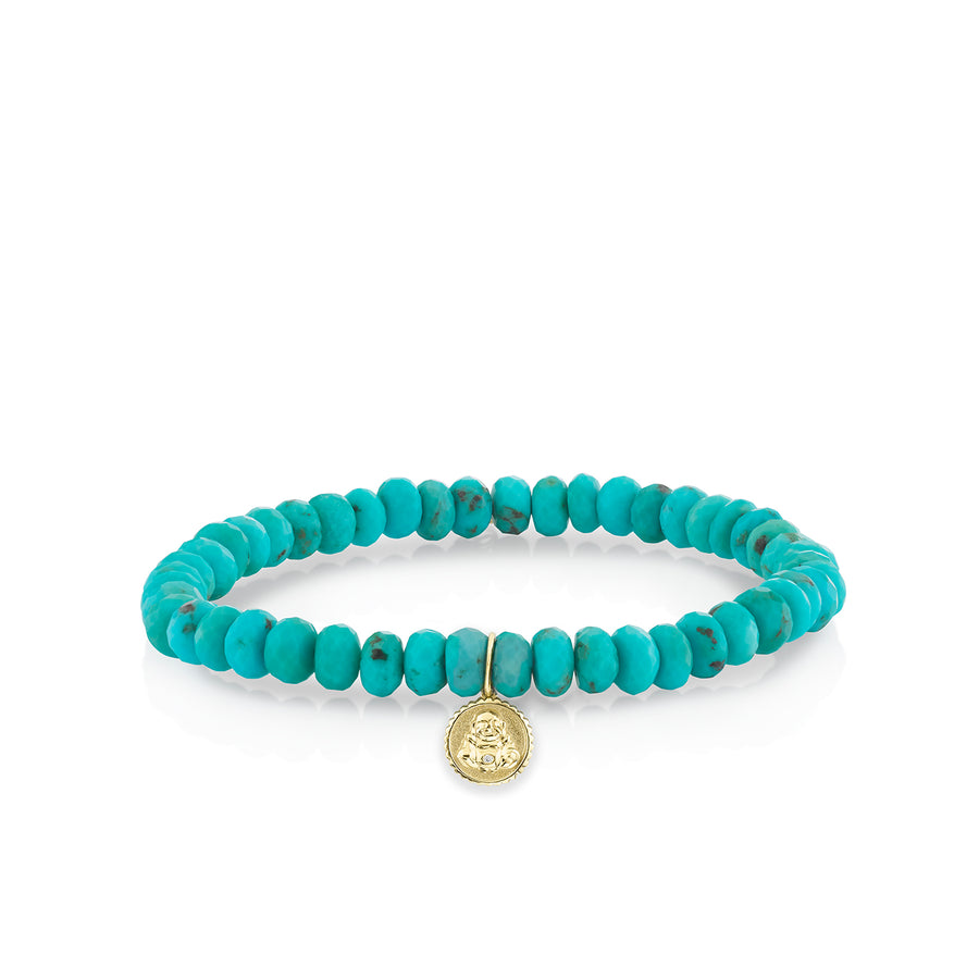 Men's Collection Gold & Diamond Buddha Coin on Turquoise
