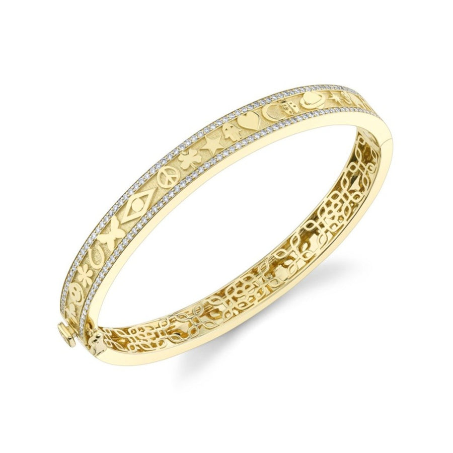 Yellow Gold & Diamond Icon Hinge Bangle
