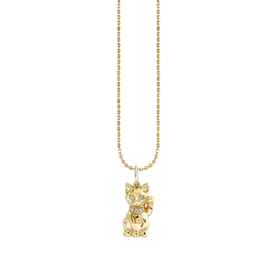 Gold & Diamond Lucky Cat Charm Necklace