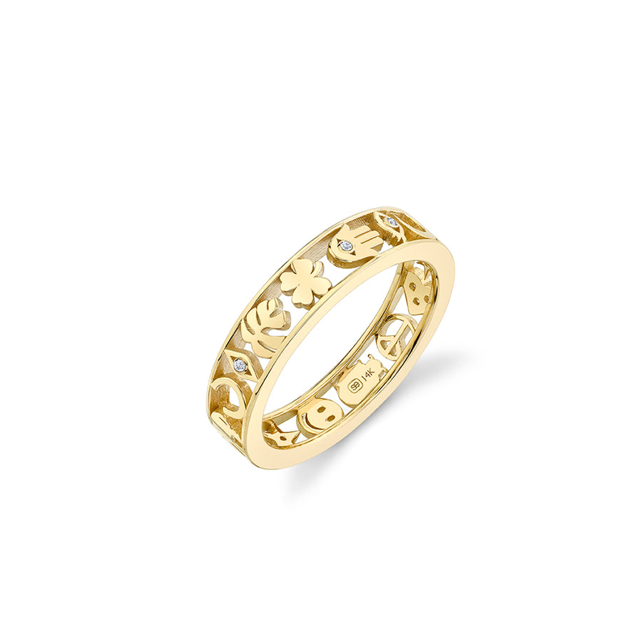 Gold & Diamond Open Icon Ring