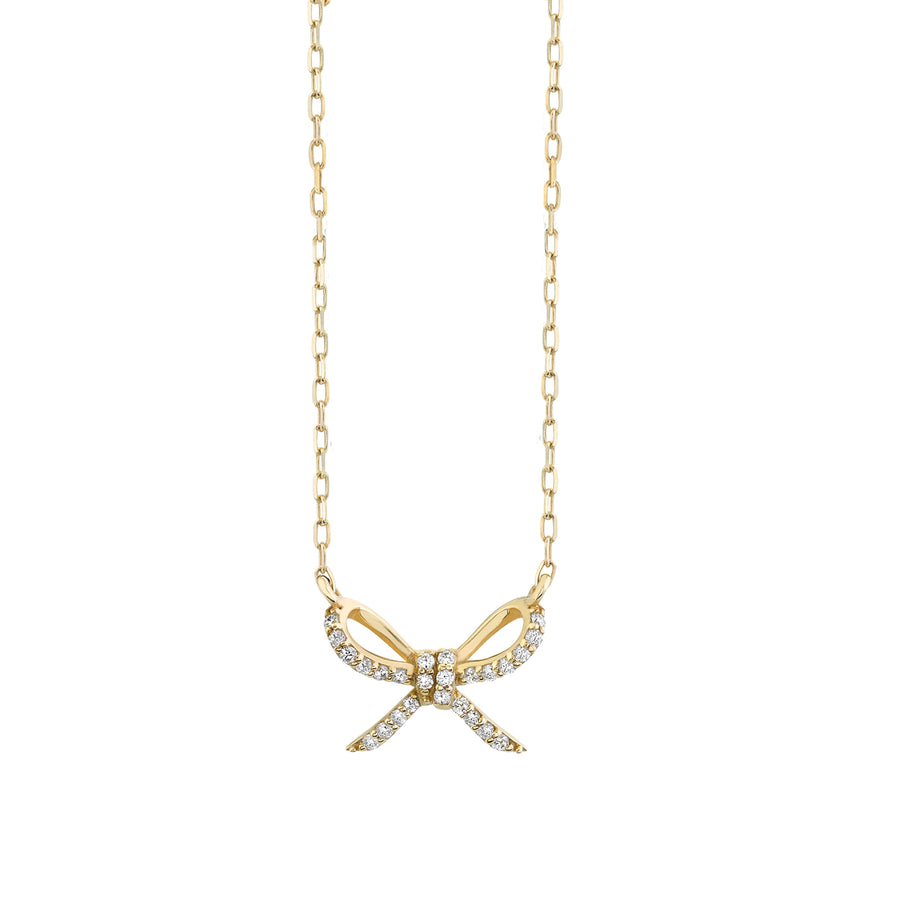 Gold & Diamond Bow Necklace