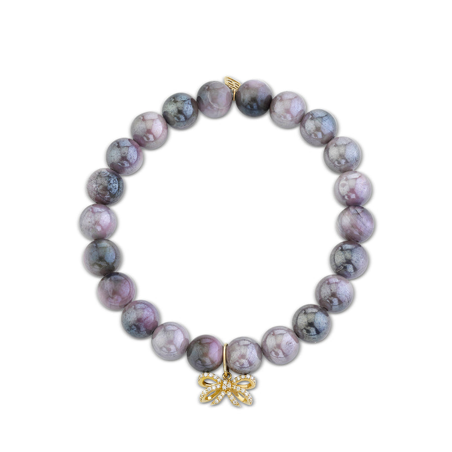 Gold & Diamond Small Double Bow on Mauve Coated Moonstone