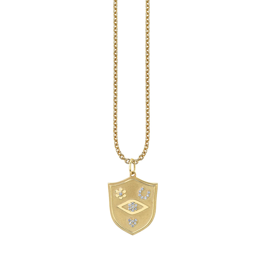 Gold & Diamond Evil Eye Love, Luck & Protection Necklace