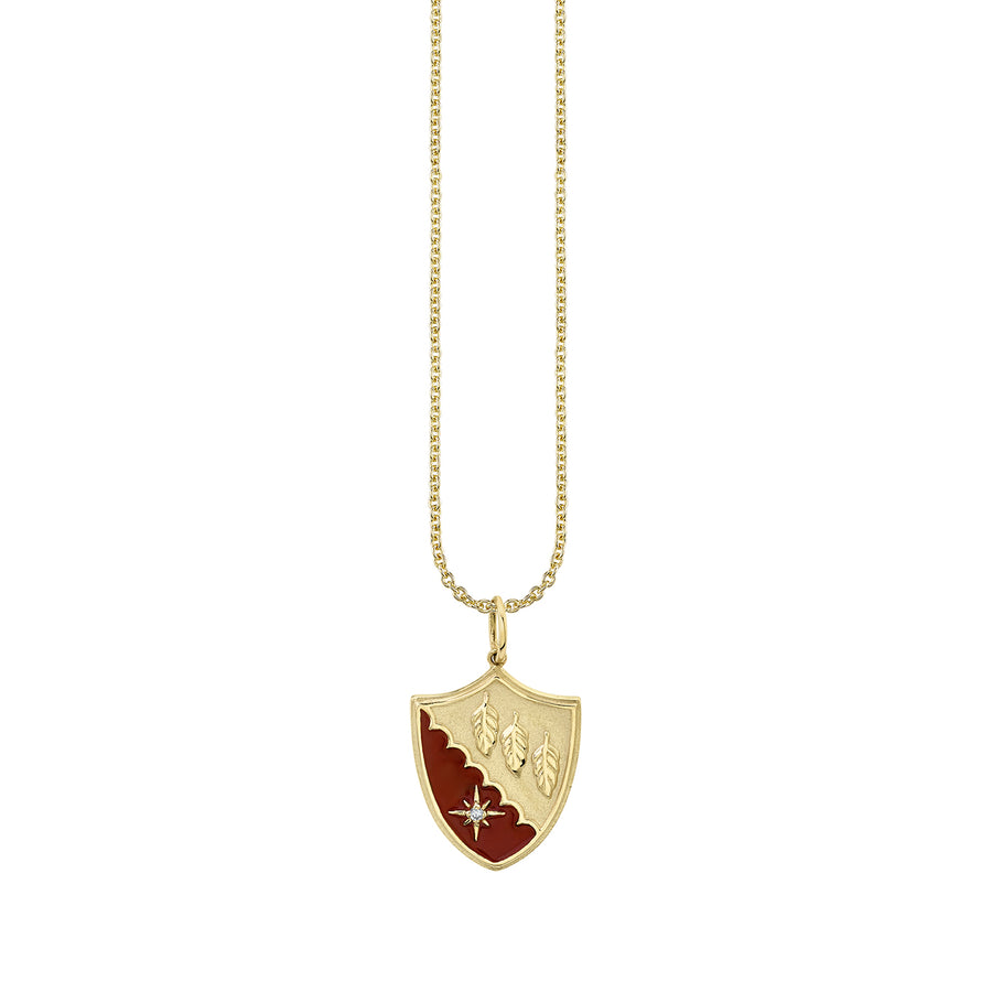 Gold & Diamond Feather Enamel Crest Necklace