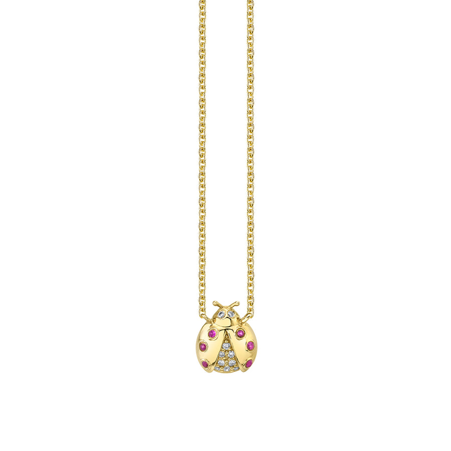 Gold & Diamond Open Wing Ladybug Necklace