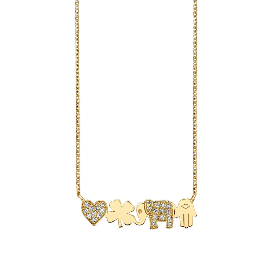 Gold & Diamond Icon Bar Necklace