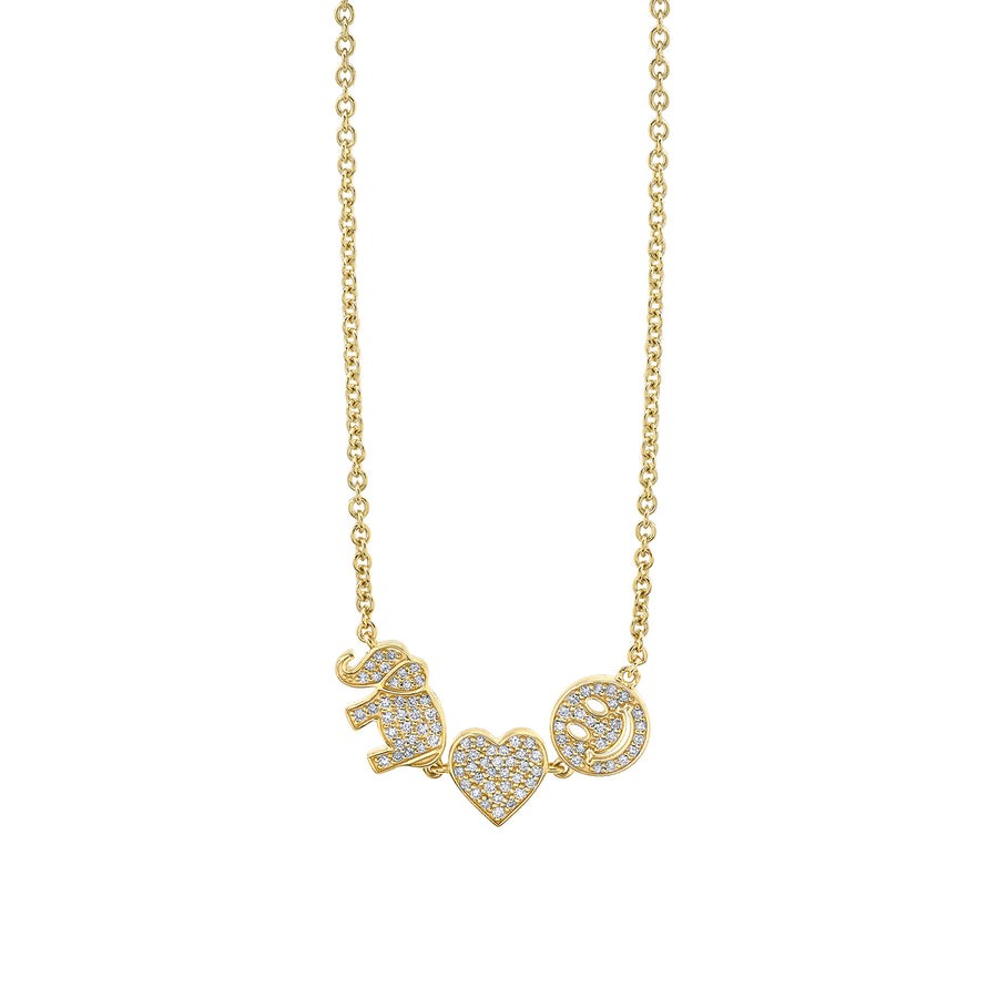 Gold & Diamond Three Icon Necklace