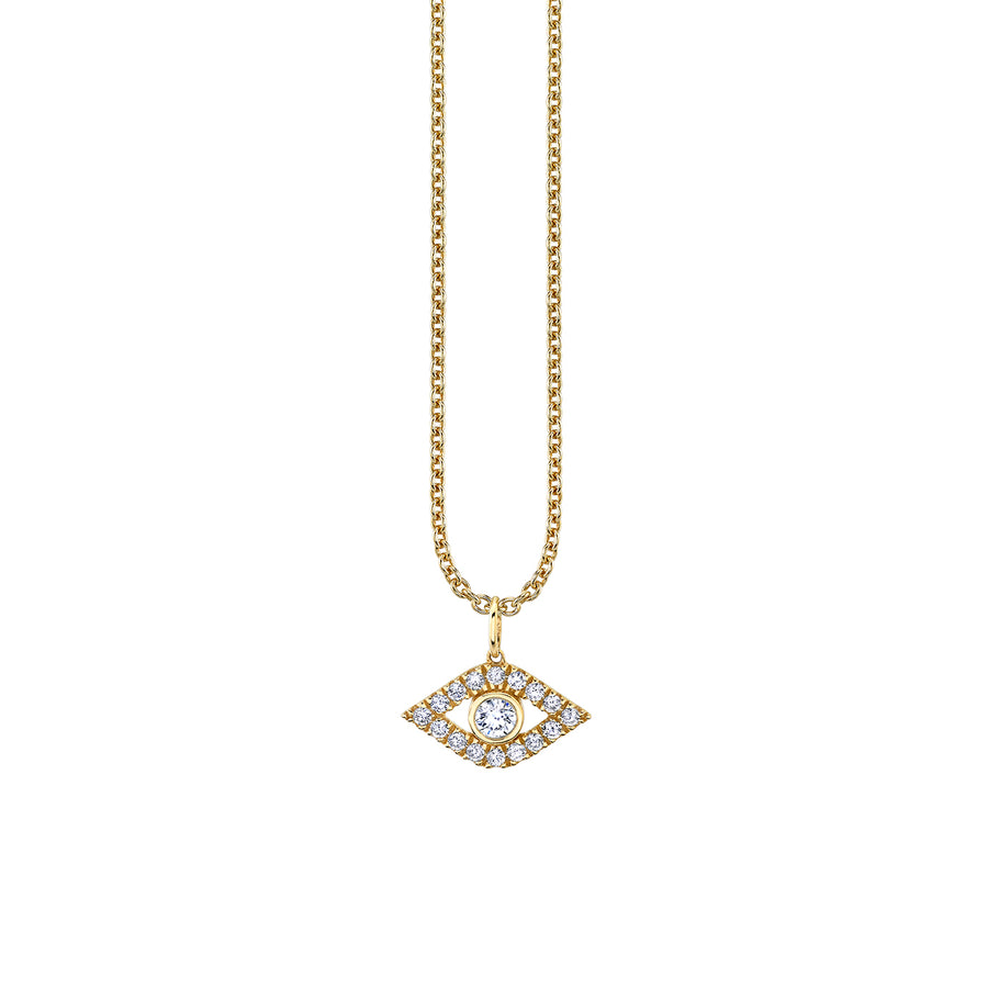 Gold & Diamond Bezel Evil Eye Necklace