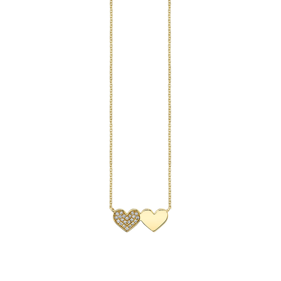 Gold & Diamond Double Heart Necklace