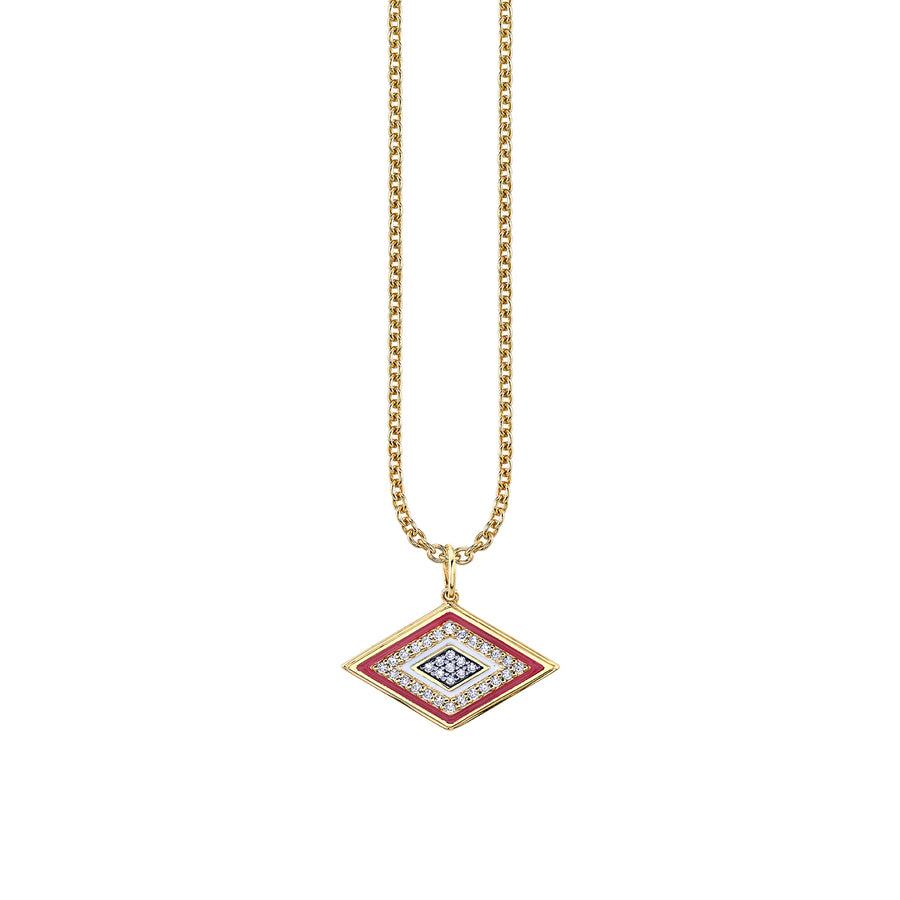 Gold & Diamond Large Enamel Groovy Eye Necklace
