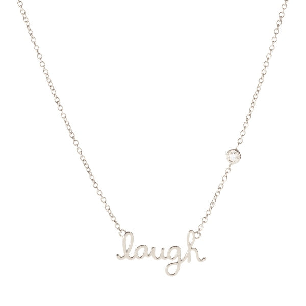 Sterling Silver Laugh Necklace with Bezel-Set Diamond