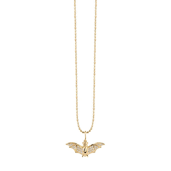 Gold & Diamond Small Bat Necklace