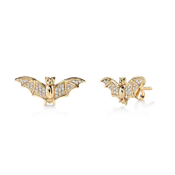 Gold & Diamond Small Bat Studs