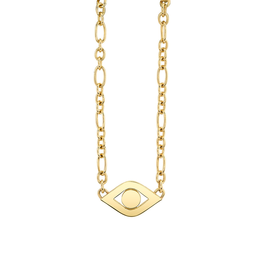 Pure Gold Extra Large Evil Eye Link Necklace