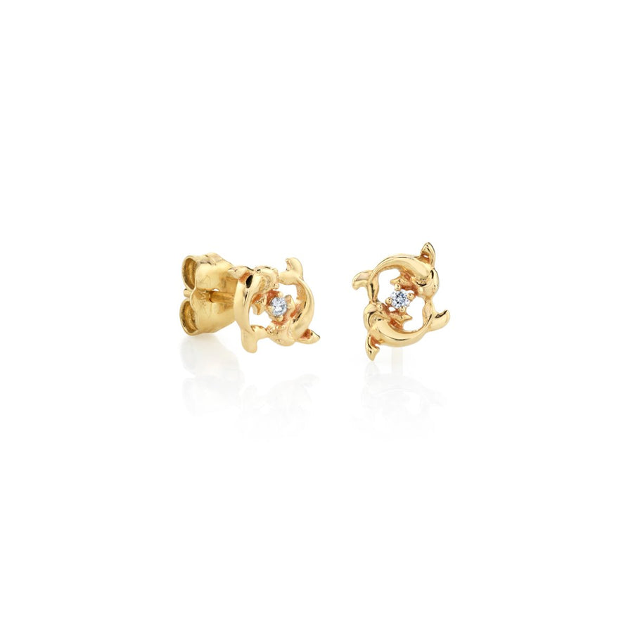 Yellow Gold Pisces Zodiac Stud Earrings