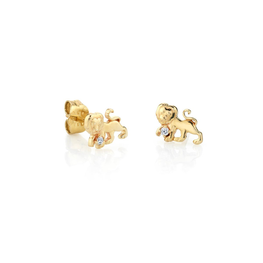 Yellow Gold Leo Zodiac Stud Earrings