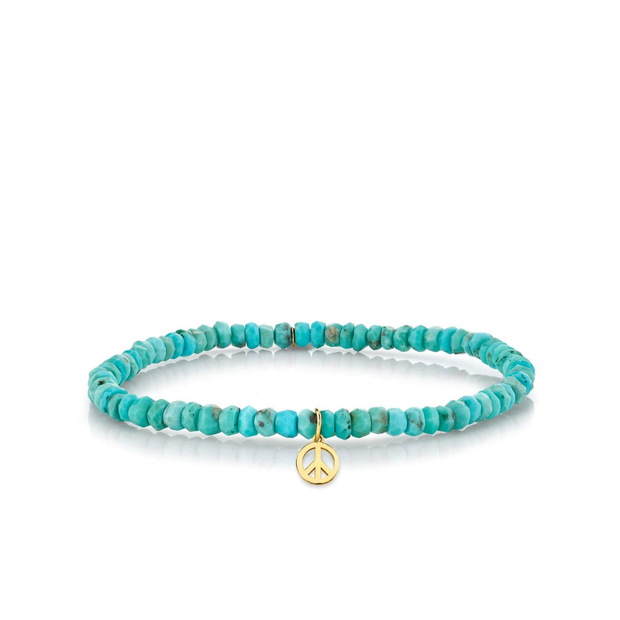 Yellow Gold Peace Sign on Turquoise