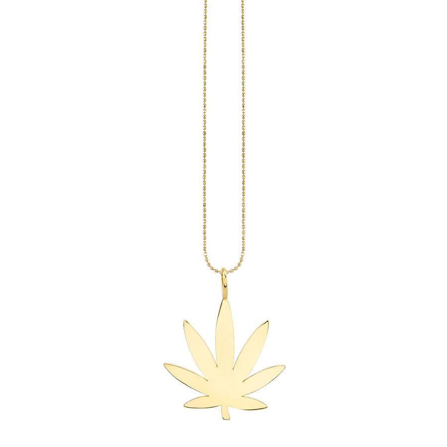 Large Pure Yellow Gold Pot Leaf Charm Necklace