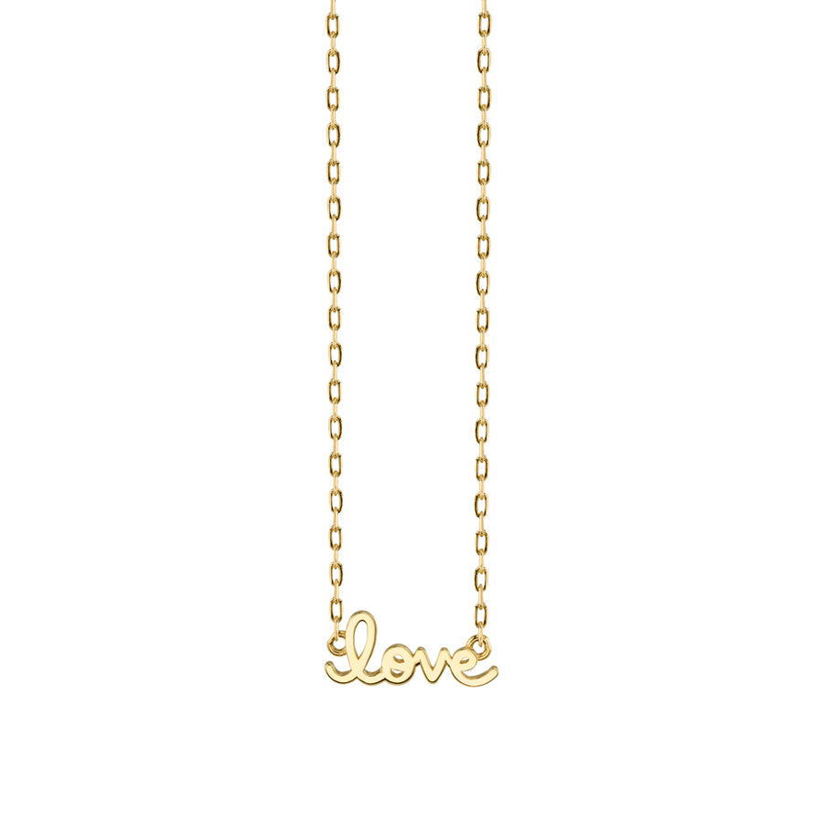 Tiny Pure Yellow Gold Love Necklace