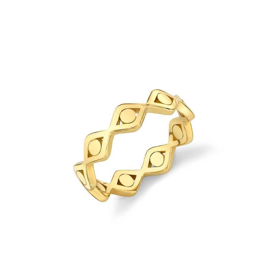 Pure Gold Evil Eye Link Eternity Ring