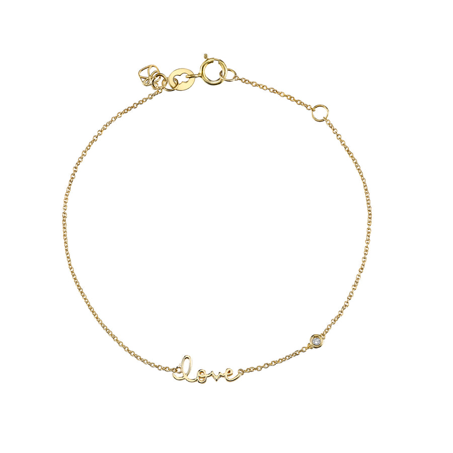 Yellow-Gold Plated Sterling Silver Love Bracelet with Bezel Set Diamond