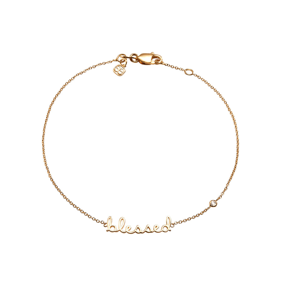 Yellow-Gold Plated Sterling Silver Blessed Bracelet with Bezel-Set Diamond