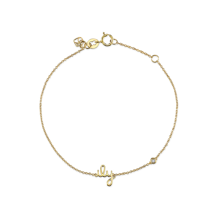 Gold Plated Sterling Silver ILU Bracelet with Bezel Set Diamond