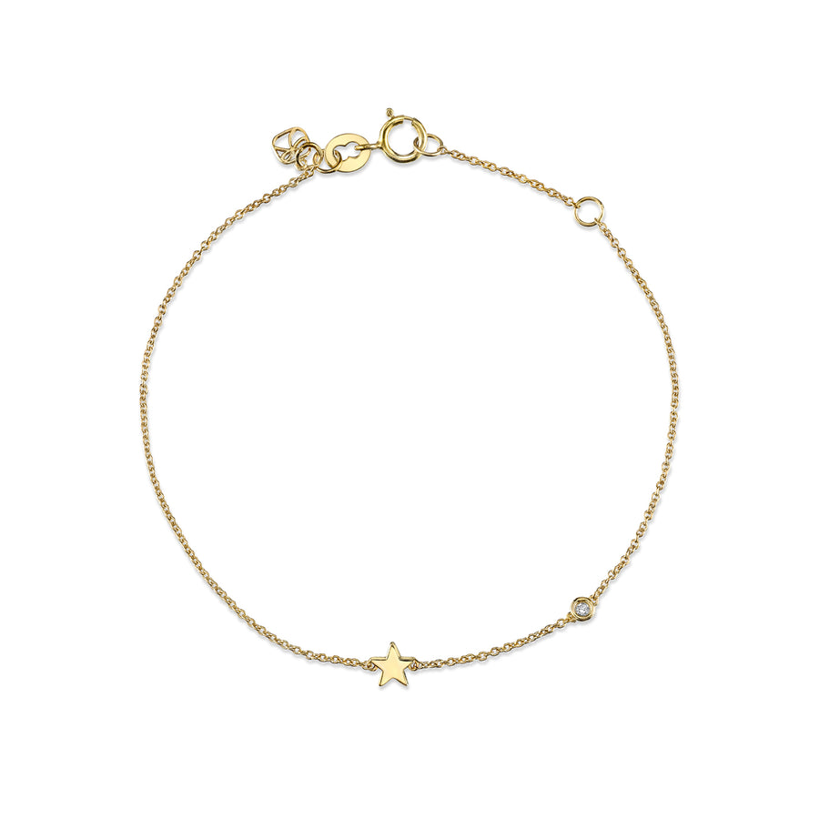 Yellow-Gold Plated Sterling Silver Star Bracelet with Bezel Set Diamond