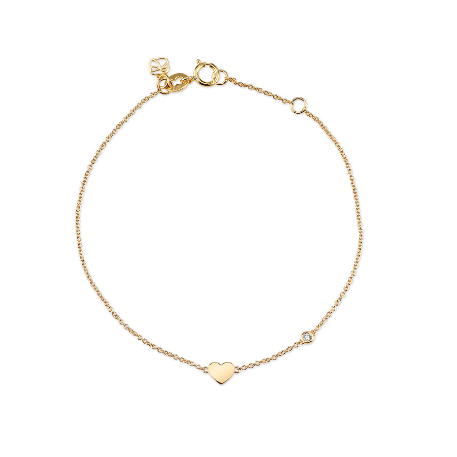 Yellow-Gold Plated Sterling Silver Heart Bracelet with Bezel Set Diamond