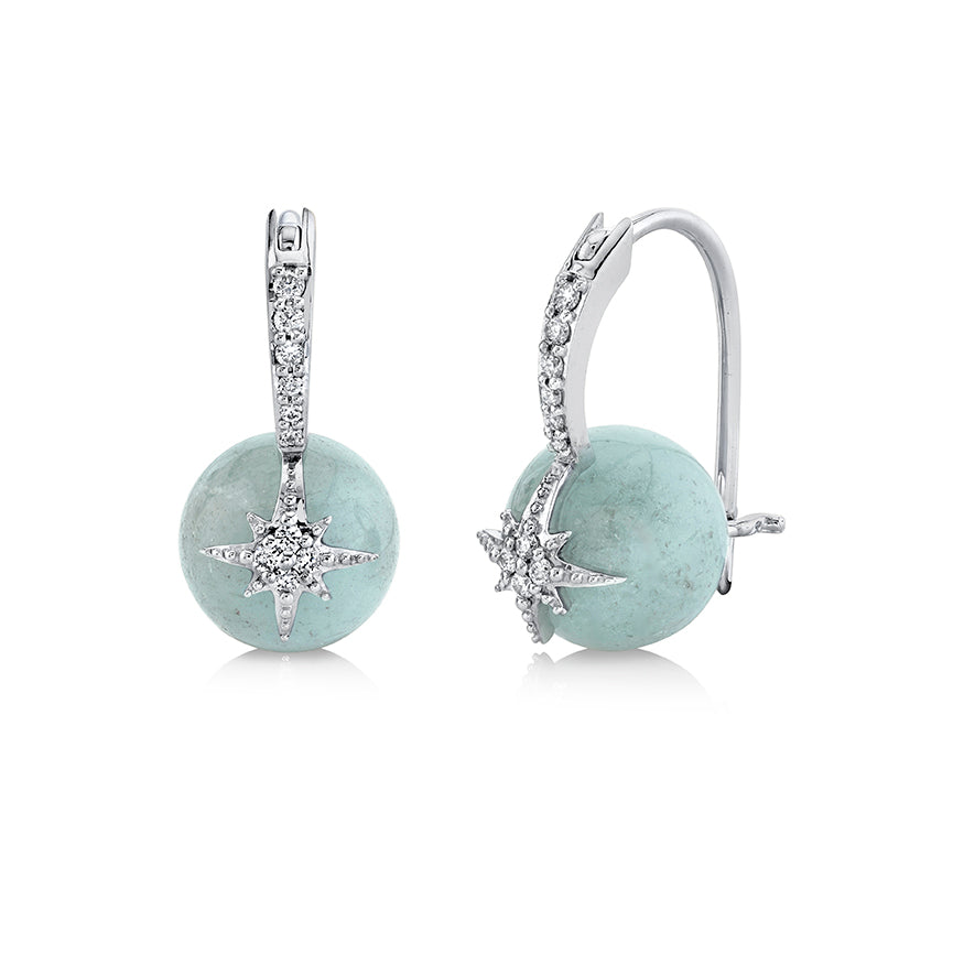 White Gold & Diamond Starburst Aquamarine Earrings