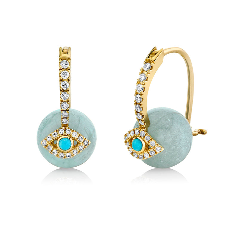 Gold & Diamond Evil Eye Aquamarine Earrings