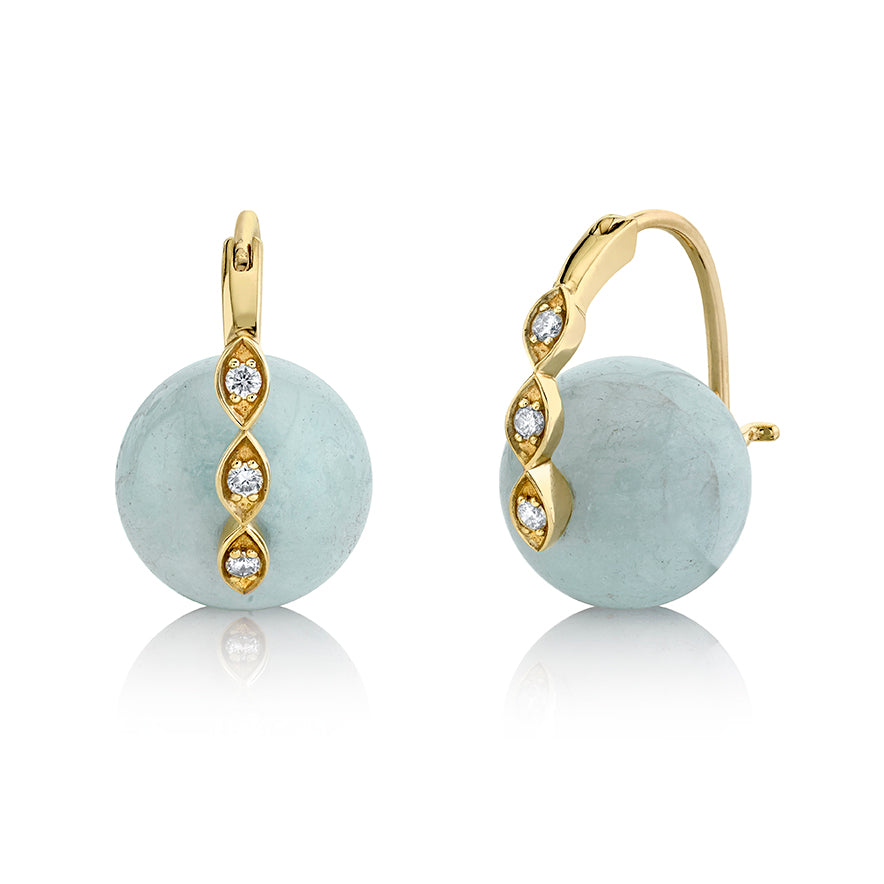 Gold & Diamond Marquis Eye Aquamarine Earrings