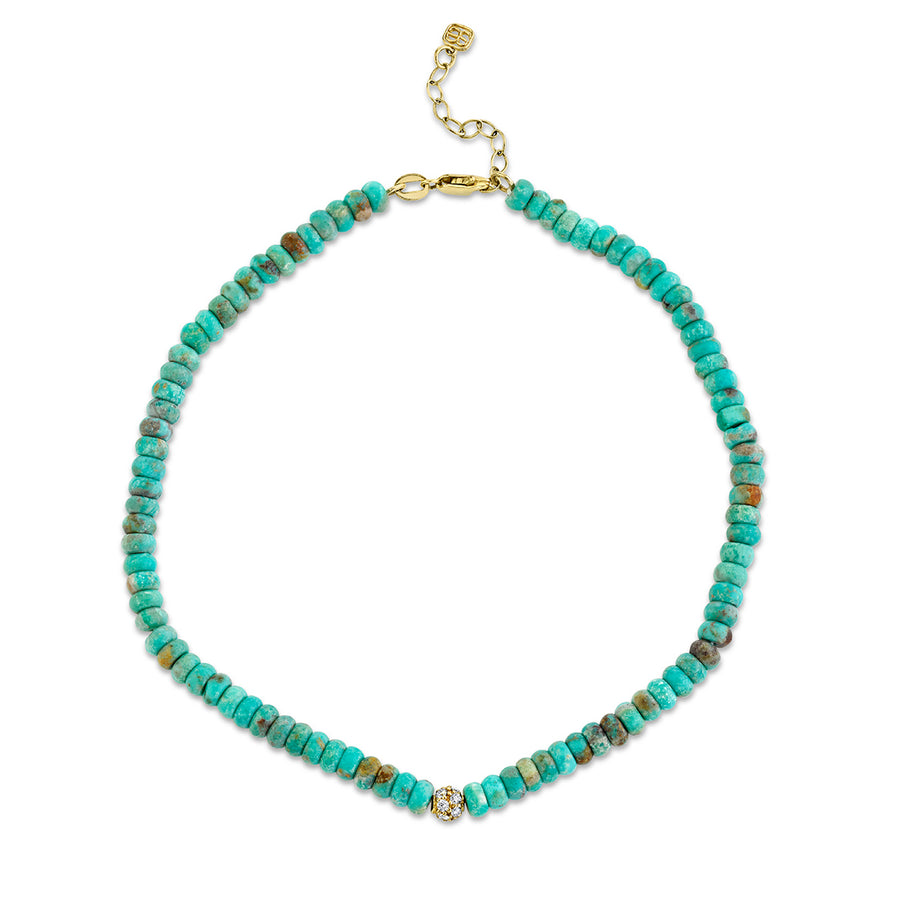 Gold & Diamond Ball on Natural Turquoise Anklet