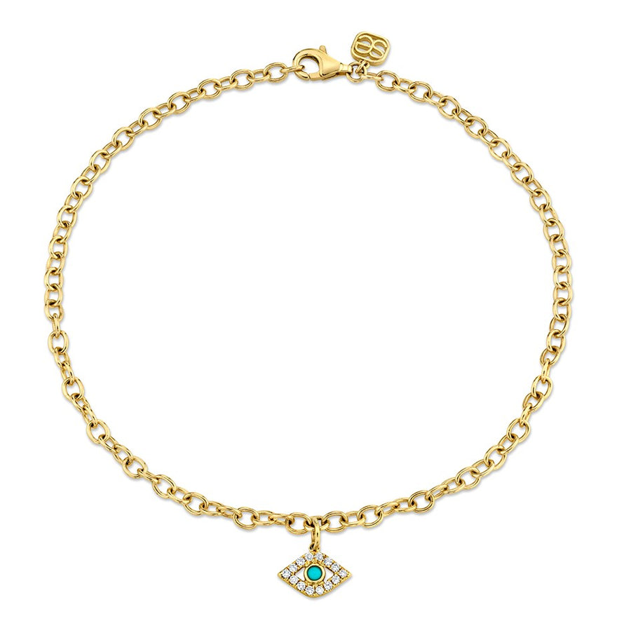 Yellow Gold & Diamond Bezel Evil Eye Anklet with Turquoise