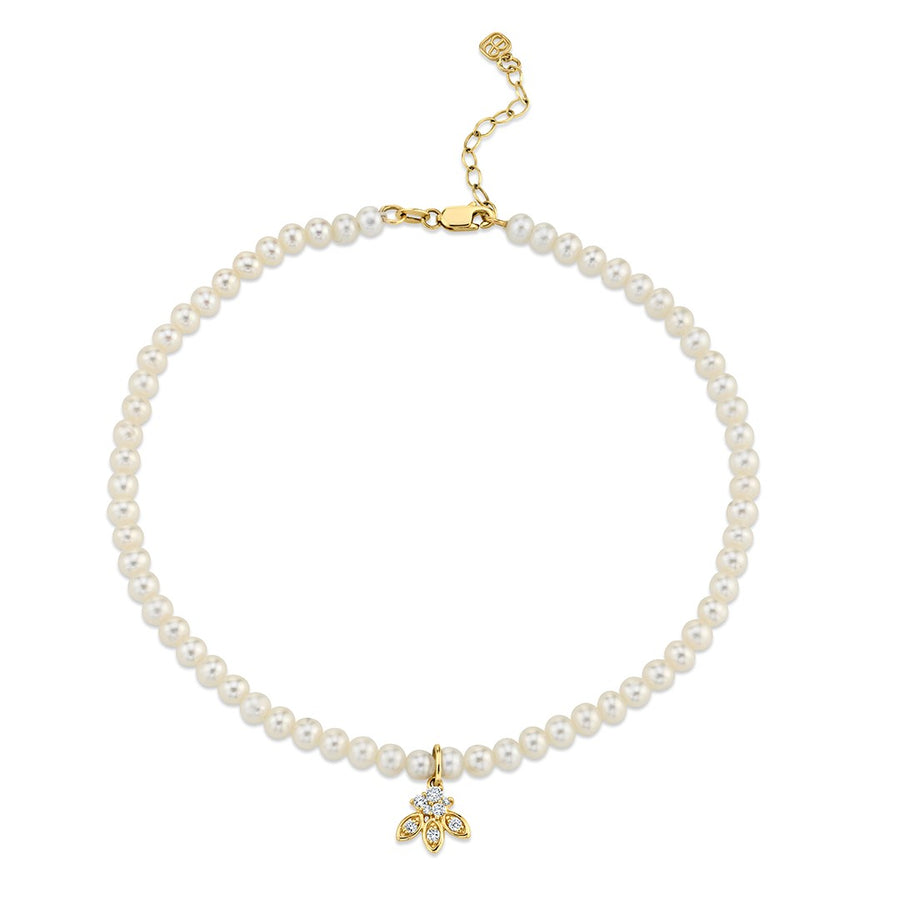 Yellow Gold & Diamond Marquis Petal Anklet on Fresh Water Pearls