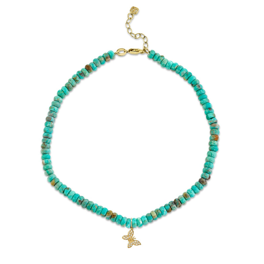 Yellow Gold & Diamond Tiny Butterfly on Natural Turquoise Anklet