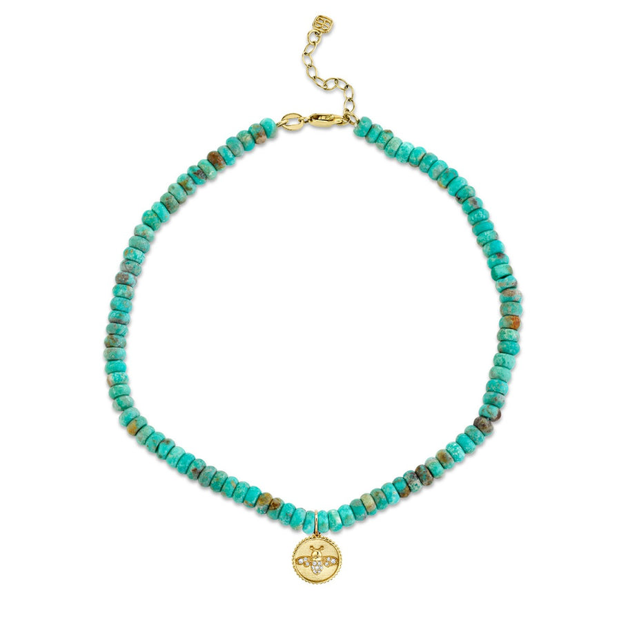 Yellow Gold & Diamond Tiny Bee Coin on Natural Turquoise Anklet