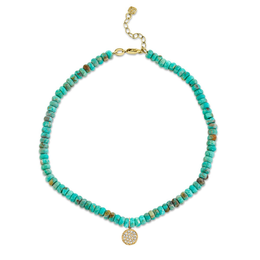 Yellow Gold & Diamond Mini Disc on Natural Turquoise Anklet