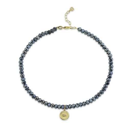 Gold & Diamond Evil Eye Coin  Mystic Black Spinel Anklet