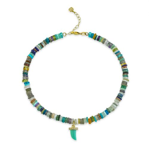 Yellow Gold & Diamond Small Turquoise Horn Rainbow Heishi Anklet