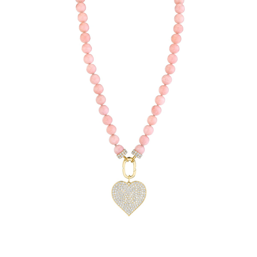 Yellow Gold & Diamond Supersize Heart Pink Opal Necklace