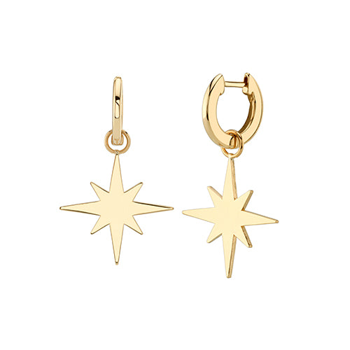 Pure Yellow Gold Starburst Charm Huggie Hoops