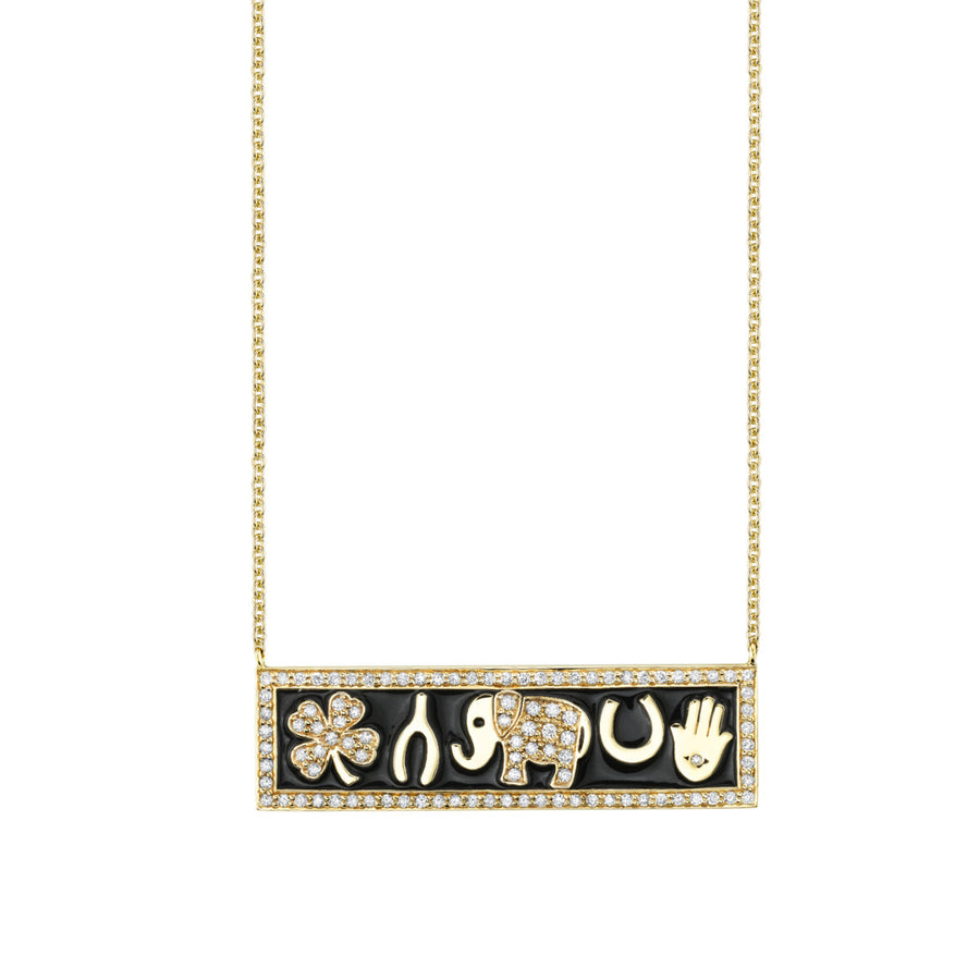 Yellow-Gold & Diamond Luck Tableau Bar Necklace