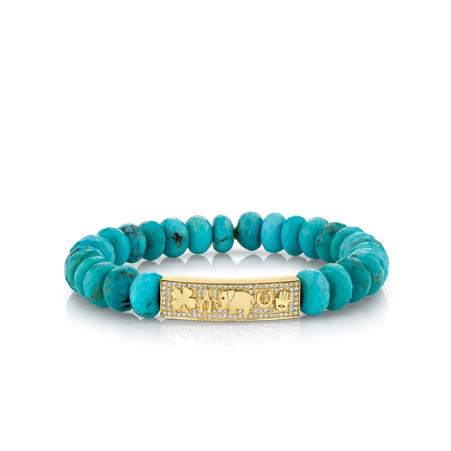Yellow Gold & Diamond Luck Tableau on Turquoise