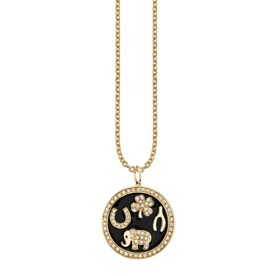 Yellow Gold & Diamond Luck Tableau Necklace