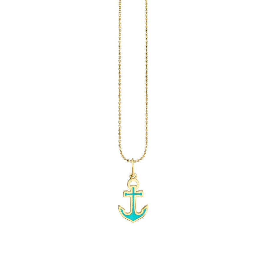 Yellow Gold & Enamel Anchor Charm Necklace