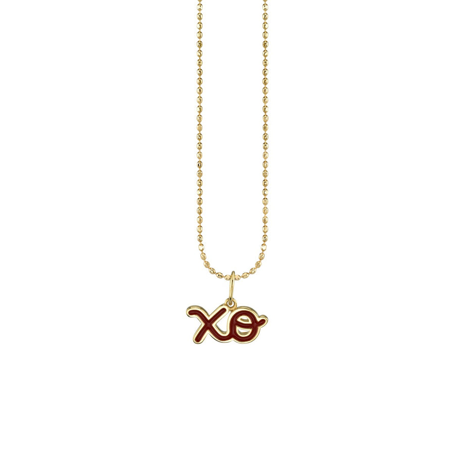 Yellow Gold & Red Enamel XO Necklace