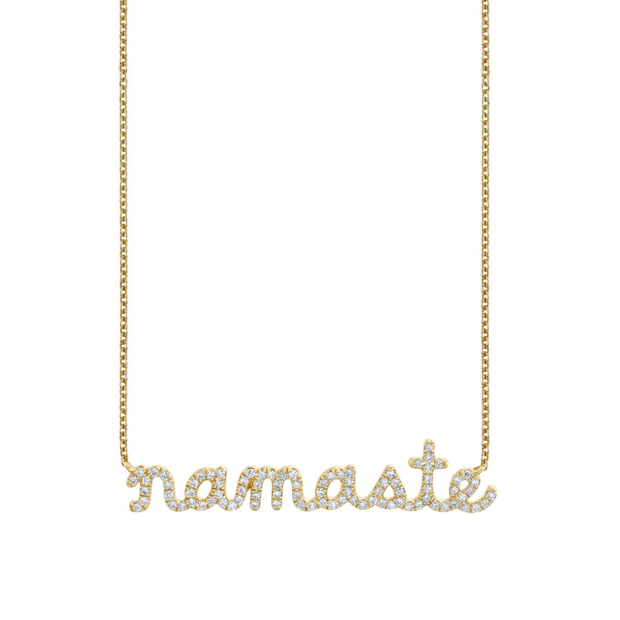 Yellow Gold & Diamond Namaste Script Necklace