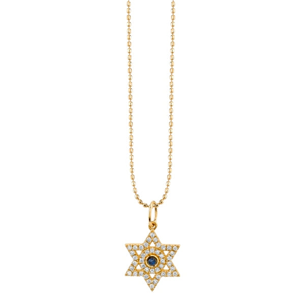 Yellow-Gold & Diamond Star of David Necklace